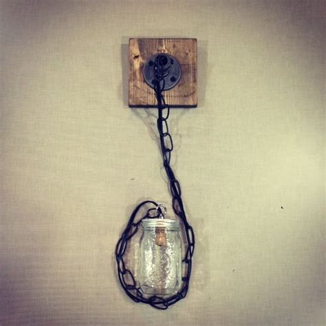 Handmade Light - industrial modern rustic wood handmade jar pendant light