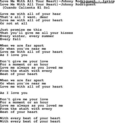 with lyrics song lyrics for me with all your johnny