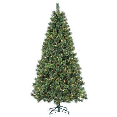 augusta cashmere pine 7 ft pre lit trees artificial trees the home depot