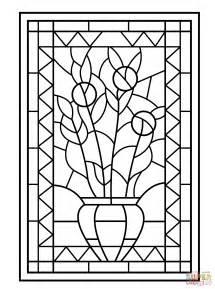 vasi di fiori da colorare disegno di vetrata con vaso di fiori da colorare disegni