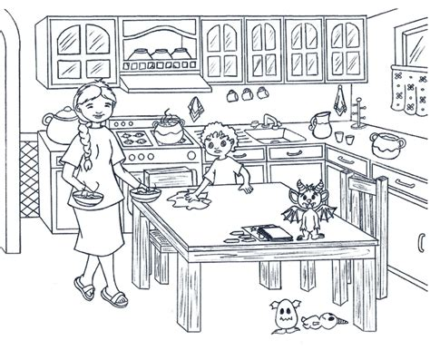 coloring page of a kitchen coloring pages award winning author spelile rivas