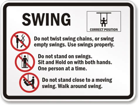 Swing Rules Signs Playground Rules Signs Sku K 4018