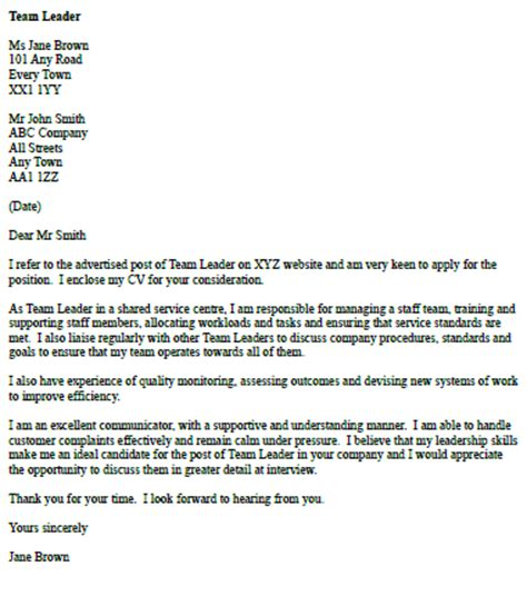 Leader Cover Letter by Cover Letter For A Team Leader Cover Letters And Cv Exles