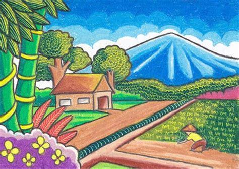 menggambar dan mewarnai pemandangan alam di pedesaan mewarnai gambar