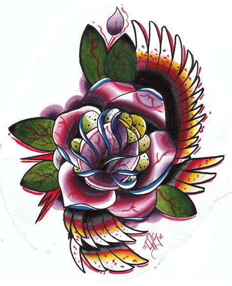 tattoo flash rose hannikate traditional tattoos pictures