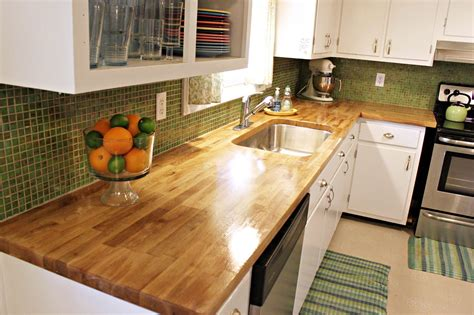 Oak Wood Butcher Block Countertops For Small Kitchen