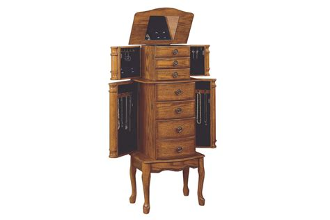 oak jewelry armoire clearance woodland oak jewelry armoire powell 604 315 at gardner white