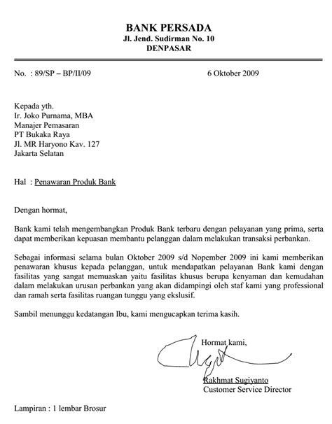 Contoh Surat Penawaran Barang Produk by Surat Penawaran Produk Bank