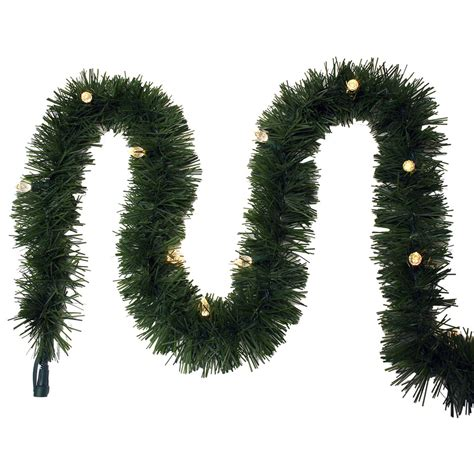 outdoor pre lit garland shop ge indoor outdoor pre lit 25 ft l pine garland with