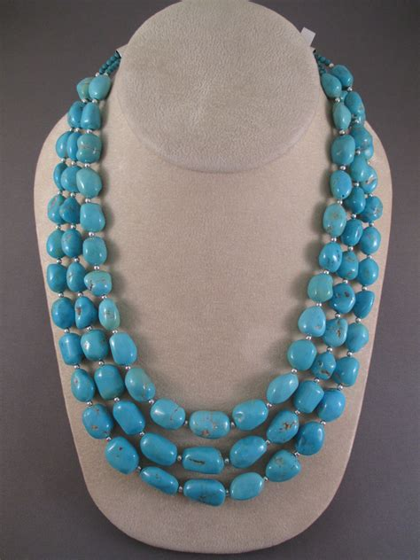 3 strand sleeping turquoise necklace two grey