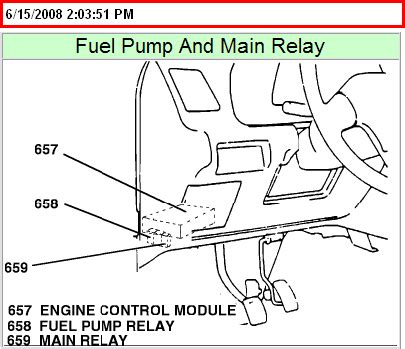 where is the fuel pump realy located on a 1994 geo tracker?