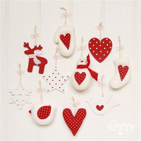 Handmade Fabric Ornaments - tree handmade decorations ornaments set wood