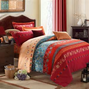 Blue And Red Comforter Sets Rust Orange Blue And Dark Red Bohemian Boho Style