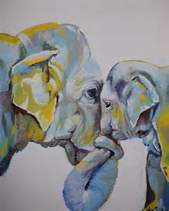 Elephant Shower Curtain Motherly Elephant Painting By Anne Seay