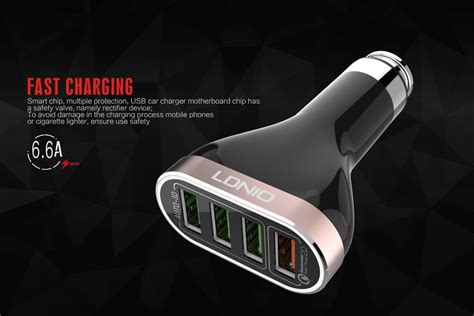 Ldnio Car Charger C701q 4 Port Fast Charging 9v ldnio qualicom 2 0 fast car charger 4 port with micro cable