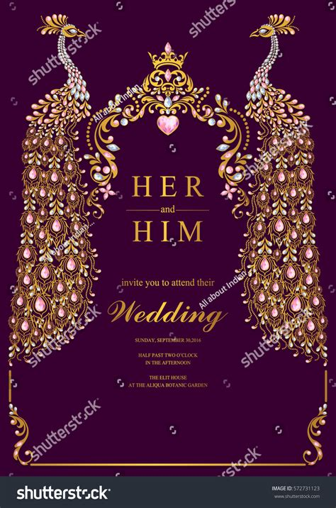 Indian Wedding Invitation Card Templates Gold Stock Vector 572731123 Shutterstock Hindu Wedding Invitation Card Template