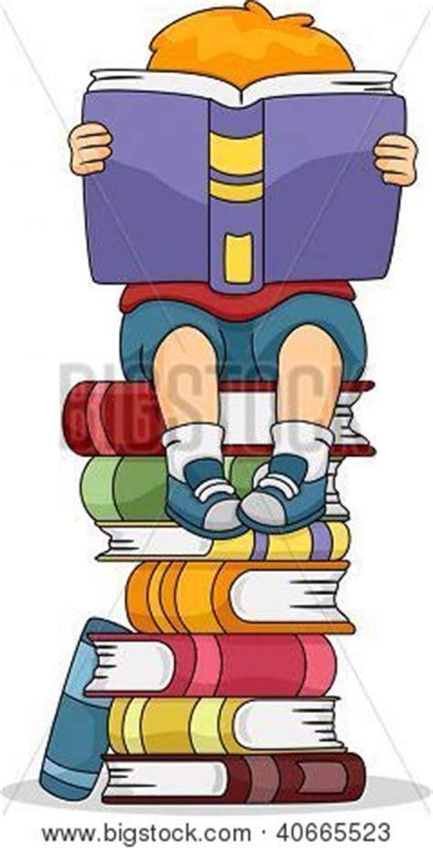 mont 243 n de libros de dibujos animados ilustraci 243 n vector ilustraci 243 n de un ni 241 o leyendo un libro sentado en un