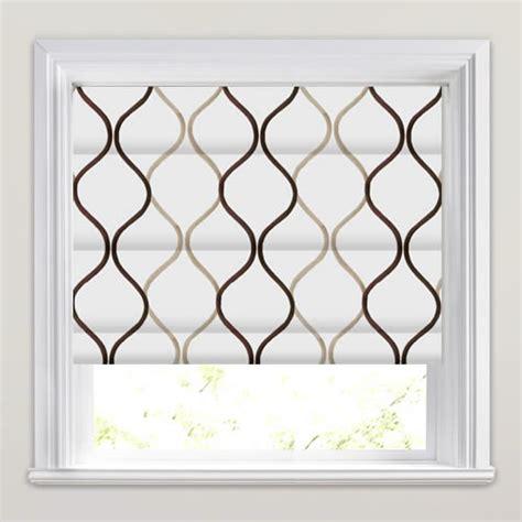 brown patterned roman blinds brown beige shimmering cream swirling patterned roman