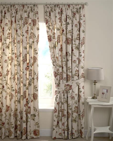 cream floral curtains cream floral chintz fully lined pair curtains 90 quot x 72 quot ebay