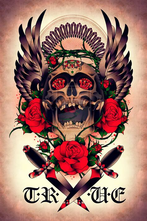 skull n rose tattoo skull n roses ii by dznflavour on deviantart
