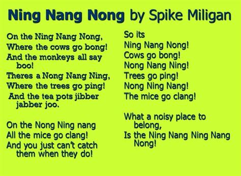 on the ning nang nong poem by spike milligan poem hunter an interactive poetry resource with text and pictures for