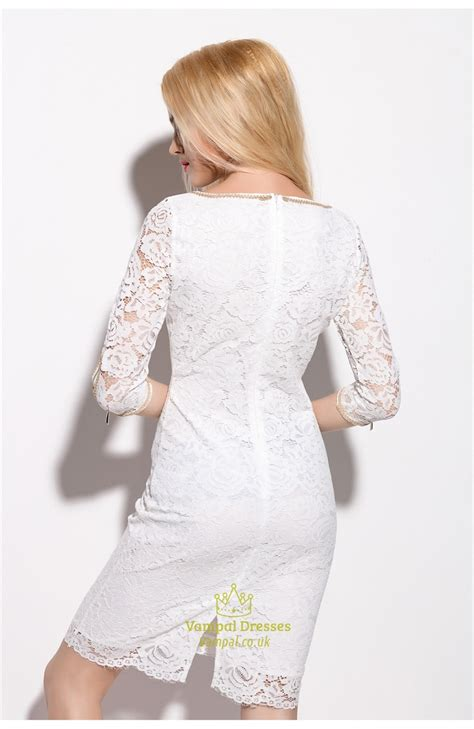 Sleeve Sheath Lace Dress white lace knee length sheath dress with 3 4 length sleeve
