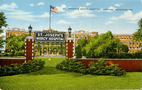 St Joseph Hospital In Pontiac Michigan by Postcards From Oakland County Michigan