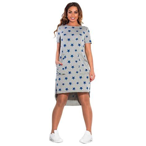 pattern dress casual women casual sports plus size dress short sleeve stars