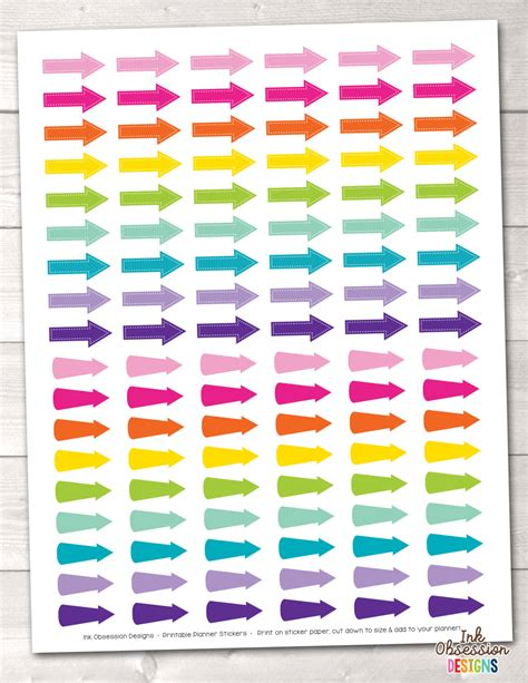 printable stickers pdf printable arrows planner stickers instant download printable