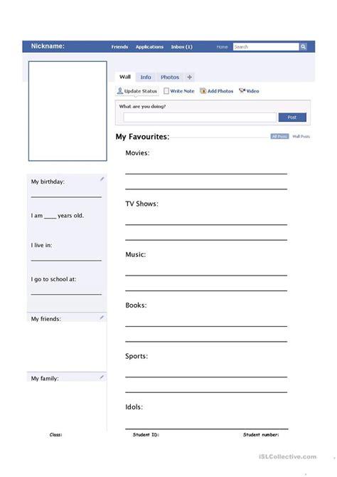 my profile template my profile worksheet worksheet free esl
