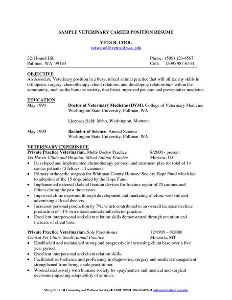Veterinarian Resume Sle by Canada Pharmacist Resume Sales Pharmacist Lewesmr