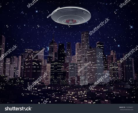 ufo metal spaceship over city by stock illustration