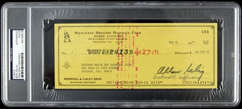 Milwaukee Background Check Lot Detail 1970s Bud Selig And Gorman Milwaukee Brewers Signed Checks Psa