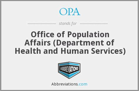Office Of Human Affairs by Opa Office Of Population Affairs Department Of Health