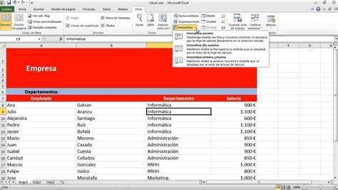 barra superior excel como inmovilizar celdas y dividir columnas en excel youtube