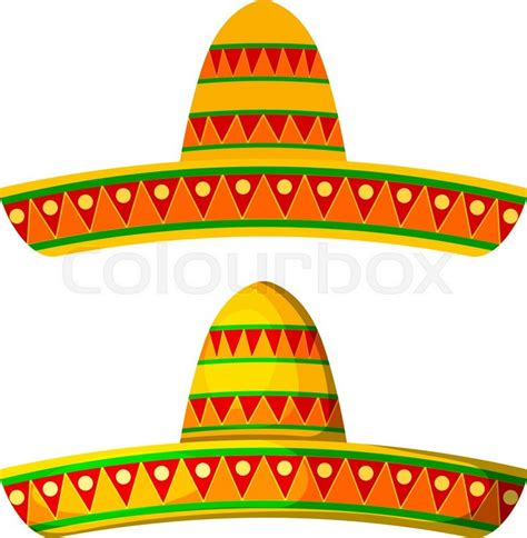 cartoon sombrero two colored cartoon sombrero on a white background