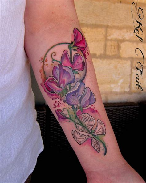purple flowers tattoo best tattoo ideas gallery