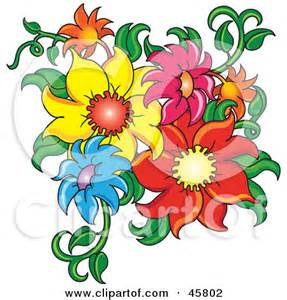 Royalty free rf clipart illustration of a corner border of flowers