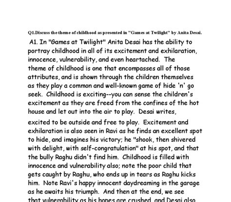 themes in games at twilight by anita desai themes atmosphere and my favourite character in the story