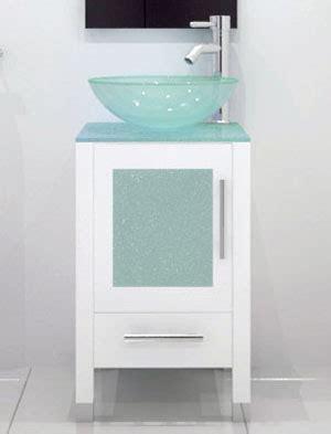 "17.75"" soft focus single vessel sink vanity glass white"