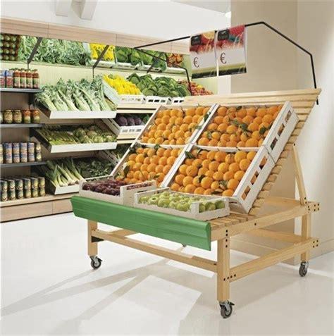 scaffali ortofrutta bancarella in legno frutta e verdura scaffalatura frutta e