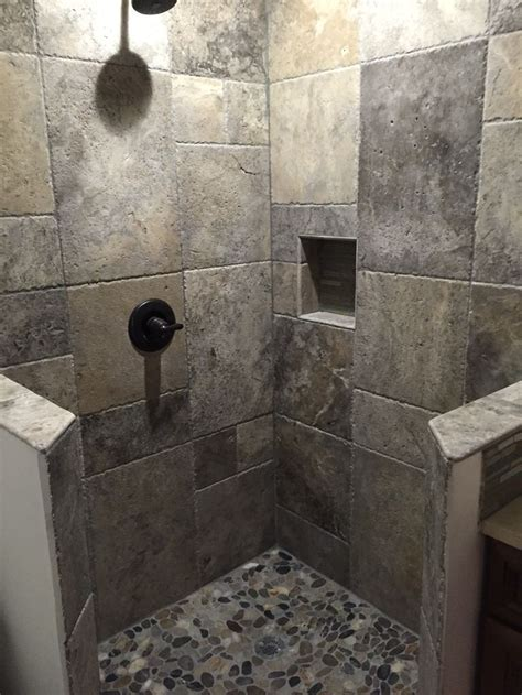 bathroom tile showers who d thunk it putting our silver travertine french