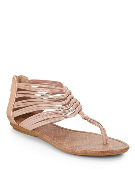 gold strappy flat sandals lucky brand cyrus strappy leather flat sandals in gold