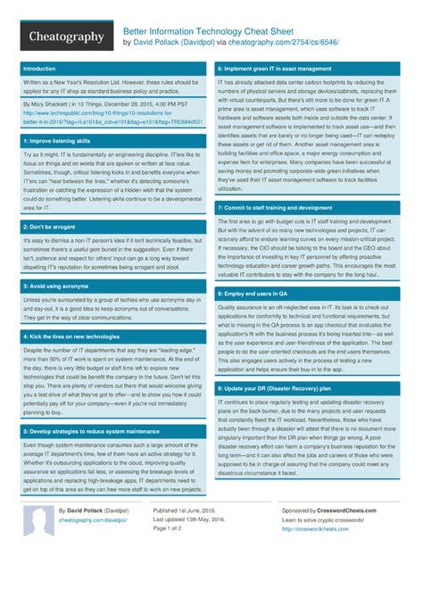 information technology cheat sheet  davidpol
