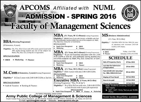 Mba Executive In Rawalpindi by Bba Mba Mcom Admissions In Army College Of