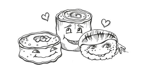 kawaii sushi coloring pages cute sushi and one eyed woman free digital sts