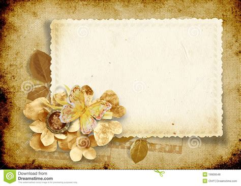 Free Background Papers For Card - vintage background with card and paper flowers stock