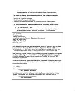 Endorsement Letter Recommendation Sle Endorsement Letter 9 Documents In Pdf