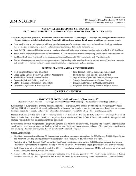 resume templates for executives it manager resume sle 3 exles senior level business