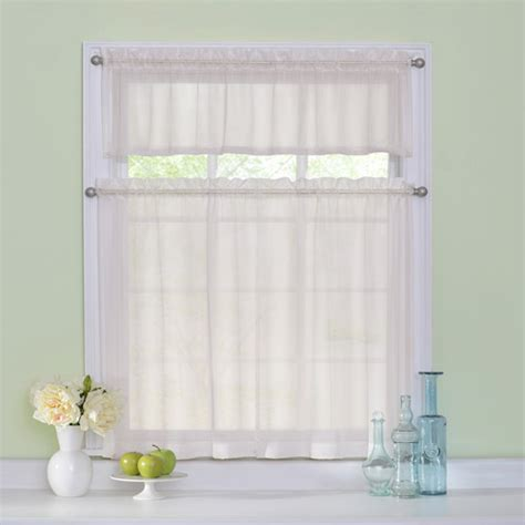 Kitchen Curtains At Walmart Arm Hammer Curtain Fresh Odor Neutralizing Sheer Kitchen Tier Set Walmart
